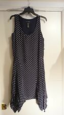RALPH LAUREN NWT Size 10 $210 Navy & White Silk Polka Dot Handkerchief Hem Dress