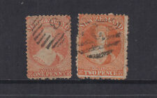 NZ 1866/72 1d/2d Orange CHALON p12½ - wmk star-SG111/133 cat £70+ FU (2)
