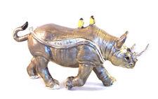 Brazen Rhinoceros Trinket / Jewelry Box Pewter Bejeweled Kingspoint