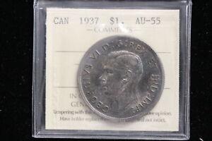 """1937 Canada. ($1) One Dollar. """"Voyageur"""". ICCS Graded AU-55 (XXT802)"""