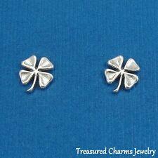 .925 Sterling Silver FOUR LEAF CLOVER Shamrock Irish Post Stud EARRINGS