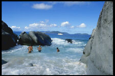 654080 The Baths Surf Rocks And People Swimming A4 Photo Print