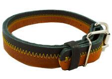 "Designer Genuine Leather Tri-Color Dog Collar 13""-18"" neck for Medium Dogs"
