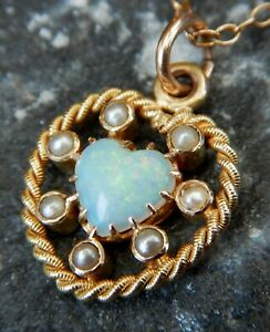 Victorian 15ct Gold Opal & Seed Pearl Heart Shaped Pendant