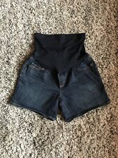 Liz Lange Maternity jean shorts sz S target stretch dark wash over belly band