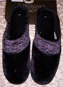 Ladies Rose QUILTED Satin edge BLACK Velveteen Velour Clog Slipper Sturdy Sole