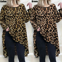 Plus Size Womens Leopard Print Long Sleeve Oversized T Shirt Casual Tops Blouse