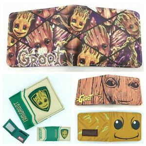 Cute Groot Wallet Bifold Mens Purse Leather Card Holders Wallets
