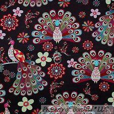 BonEful Fabric FQ Cotton Quilt Brown Pink Blue Peacock Bird Flower Feather Retro
