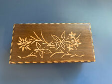 Jewelry Music Box wood carved flowers Switzerland Blue Danube *Works Great*