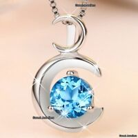 BLUE Crystal Diamond Necklace Silver Moon Love Xmas Gifts For Her Wife Mum Women