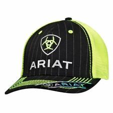 4403f5cc6aa Ariat Mens Hat Baseball Cap Mesh Snap Shield Logo Pinstripe Black Lime  1500901