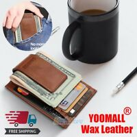 Mens Wax Leather Money Clip Magnet Front Pocket Wallet Slim ID Card Case NEW