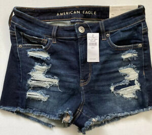 NWT American Eagle Size 8 Hi Rise Shortie Jean Shorts Women's Juniors MSP$54