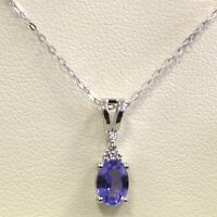 AAA 8mm * 6 mm 1.25Ct Oval Tanzanite and Diamond Pendant Crafted in White Gold
