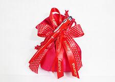 Bomboniera sacchetto raso 12 cm nastro Laurea penna touch rossa