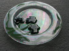 Jan Mitchell signed art glass plate St Croix Virgin Islands
