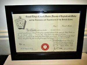 Framed Masons Mark Master Certificate 1964