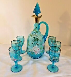 Vtg Hand Painted Sparkling Blue Decanter W 6 Cordial Glasses In Floral Design