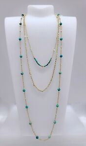 New Auth KENDRA SCOTT 440 Gold Turquoise Scarlet  Multi Strand Layer Necklace