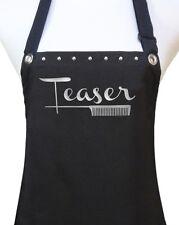 """TEASER"" black silver hair cutting stylist salon polyurethane waterproof apron"