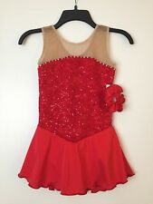 Icings NWT RED LACE COMPETITION ROLLER ICE SKATING DANCE BATON DRESS