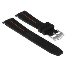 StrapsCo Black Silicone Rubber Watch Band Curved End Strap w/ Buckle for Rolex