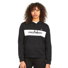 Fred Perry Genuine Ladies Black Branded Hoodie Sweatshirt Top UK 8 BNWT
