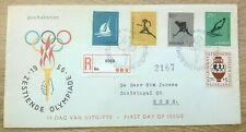 Nederland FDC E26 Zestiende Olympiade 1956 R-strookje Goes