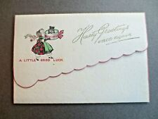 VINTAGE Christmas Card 1930's Black Cat in Hat box Carried by Lady in Bonnet