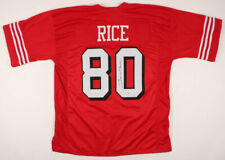 JERRY RICE Signed Autographed Red Jersey Beckett (BAS) COA
