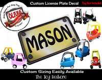 Personalize Custom License Plate Decal Sticker Fits Little Tikes Cozy Coupe Car