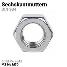 Sechskantmuttern Verzinkt Stahl DIN 934 Kl. 8 Metrisch Gewindegrößen M2 bis M30