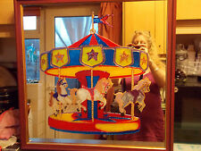 Hand Painted Carousel miroir 2 FT X 2 FT Square wooden frame with a Red Finish