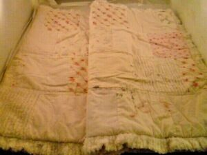 2 SIMPLE SHABBY CHIC WHITE PINK ROSE CHENILLE PATCHWORK PILLOW STANDARD SHAMS