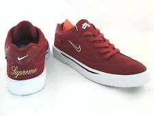 NWOB NIKE SUPREME X SB Mens Red Canvas SNEAKERS Shoes 801621 SKATEBOARD US 7/40