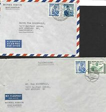 Austria 1955 - 1956 Two Covers From Hotel Savoy To Los Angeles