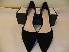 NINE WEST Supine Black Suede Patent Leather Flat Ballet Size 10 NIB $70