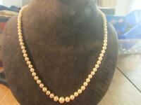 Beautiful Vintage Cultured Saltwater Pearl Necklace & 9ct Gold & Garnet Clasp,