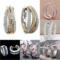 18k Gold Filled White Topaz Women Ear Hoop Jewelry Dangle Drop Earrings Party