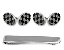925 Silver Mother Of Pearl & Onyx Double-Sided Oval Cuffllinks Tie Clip Box Set