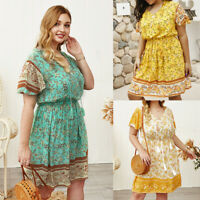 Plus Size Women's Short Sleeve Boho Floral Dress Drawstring Holiday Beach Dress