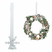 Christmas 30cm Metal Snowflake Wreath Hanger - White