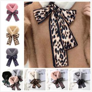 Ladies Faux Fur Silk Scarf Ladies Neck Warmer Wrap Collar Shawl Leopard Pattern