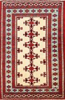 Geometric Balouch Oriental Area Rug Wool Ivory Hand-Knotted Kitchen Carpet 3'x4'