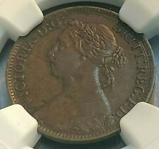 1890 Great Britain Farthing NGC AU53 Nice, Scratch-Free Holder CHN