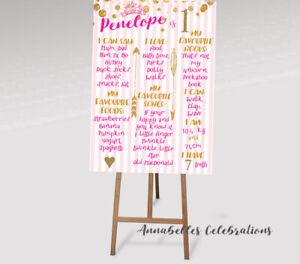 Princess Custom First Birthday Party Decoration Milestone Board 1st Print File