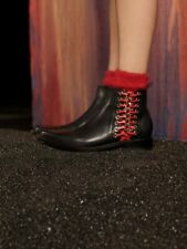 NEW ALEXANDER MCQUEEN black leather red chain braid boots U4.5 37.5 38 RRP£1295