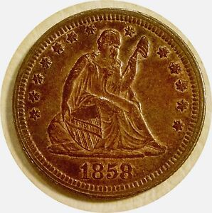 1858 LIBERTY SEATED QUARTER ~ GORGEOUS DEEP OLD TONING OVER LUSTER ~ CHOICE AU