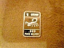 One Gram Pure Fine .999 Silver Scorpion